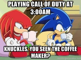 Sonic and Knuckles Coffee: Call of Duty by lightyearpig