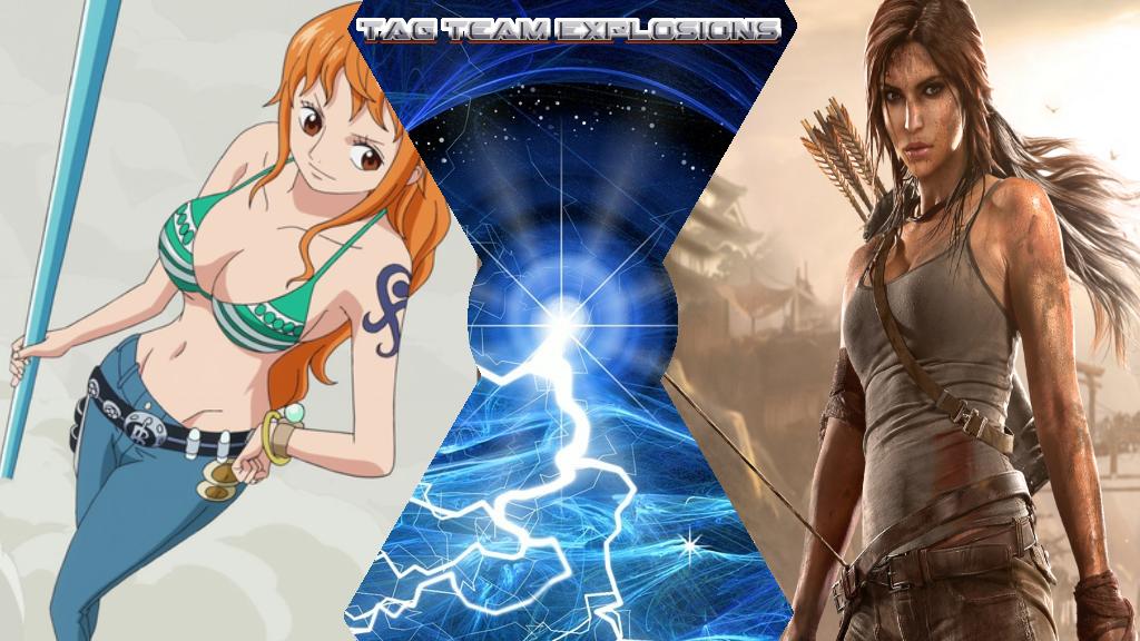 Nami And Lara Croft by lightyearpig