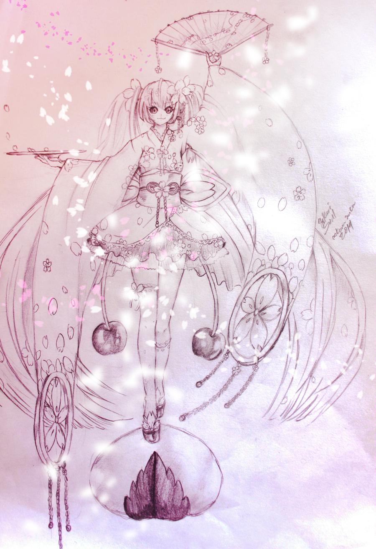 concept design: Sakura miku by Hikarisoul2