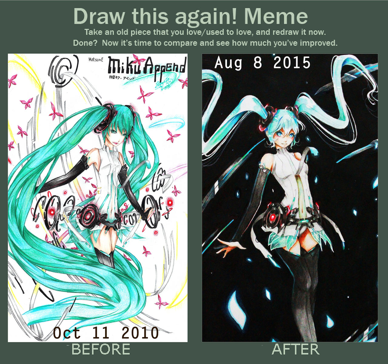 MIKU APPEND 2010  vs. MIKU APPEND DARK 2015 by Hikarisoul2