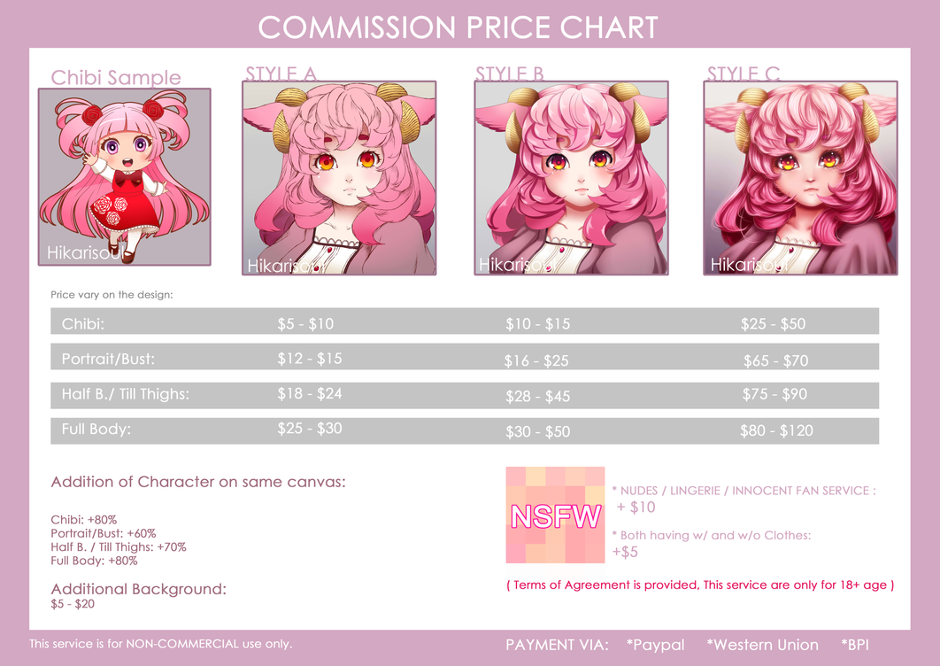 UPDATED: COMMISSION PRICE CHART by Hikarisoul2