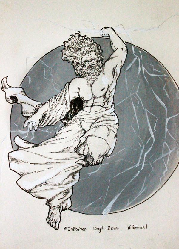 INKTOBER2016 D2: Zeus by Hikarisoul2