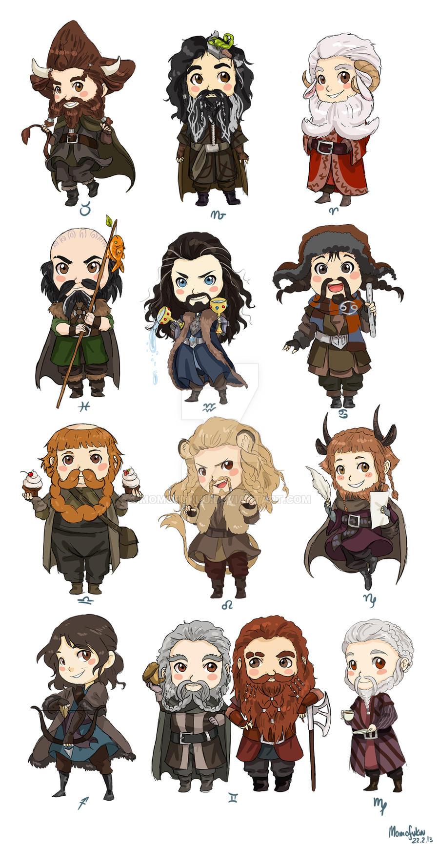 Chibi Zodiac Dwarves by momofukuu
