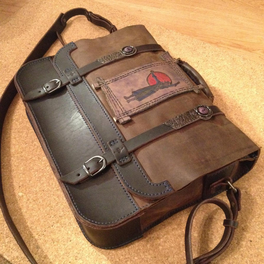 Bloodborne inspired leather bag by MikhailGurlukovich