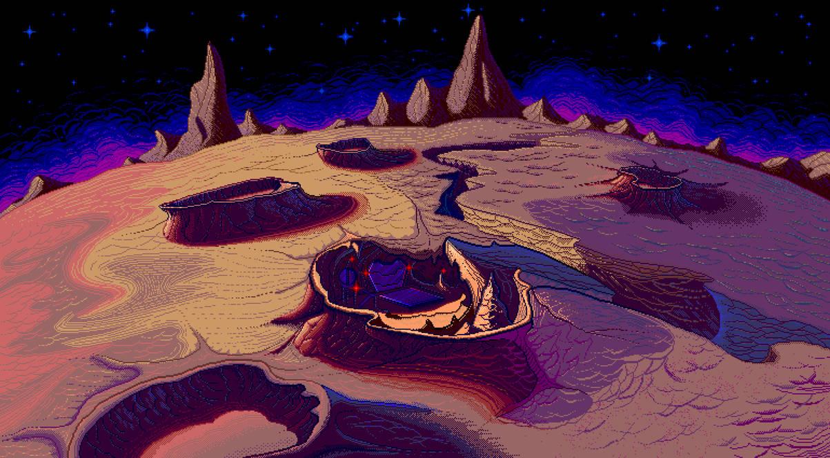 Isolated Moon Pixelart