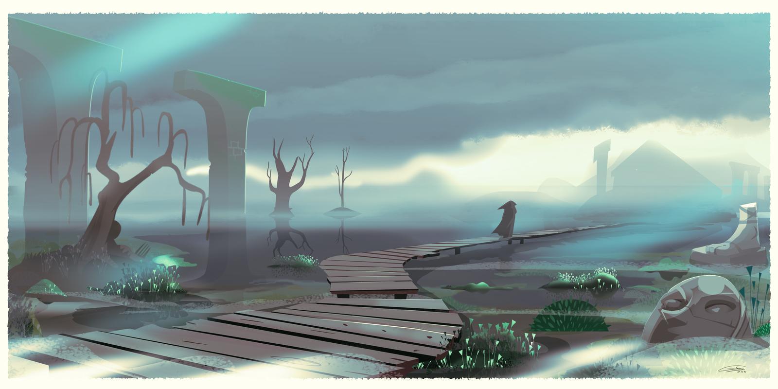 Path to the Swamp Shrine by Gilmec