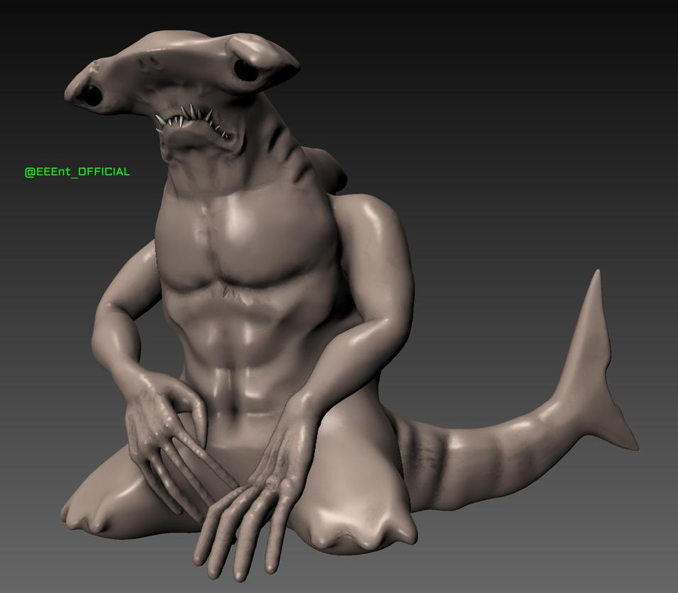 Blender Sculpt - Sad Hammerhead Shark by EEEnt-OFFICIAL
