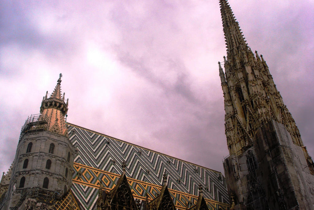 Purple sky and the cathedral by Polin-Sam