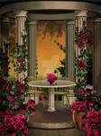 Arbour with a roses_ background stock