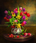 Still Life with Tulips and Strawberry