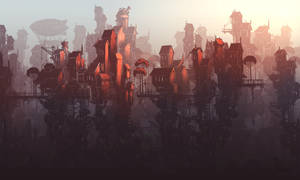 Steampunk town sketch