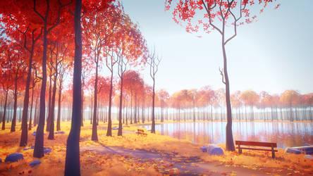 Sunny Autumn Lake
