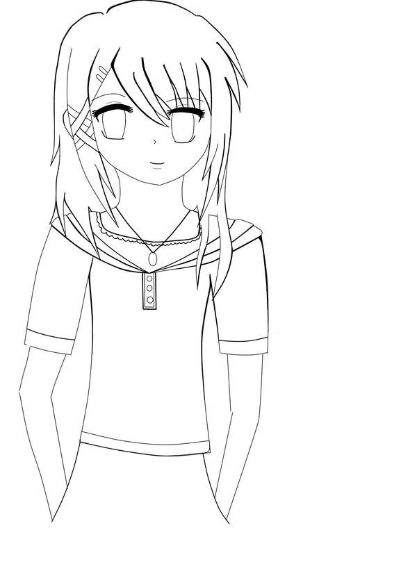 Anime Girl Lineart : Anime girl lineart by neo on deviantart