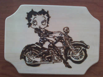 Pyrography - Biker Betty by naaxha
