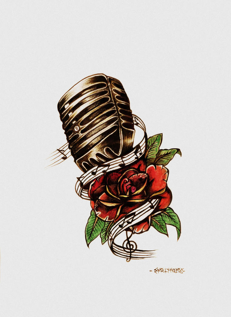 rose and microphone tattoo design by eholm3s on deviantart. Black Bedroom Furniture Sets. Home Design Ideas