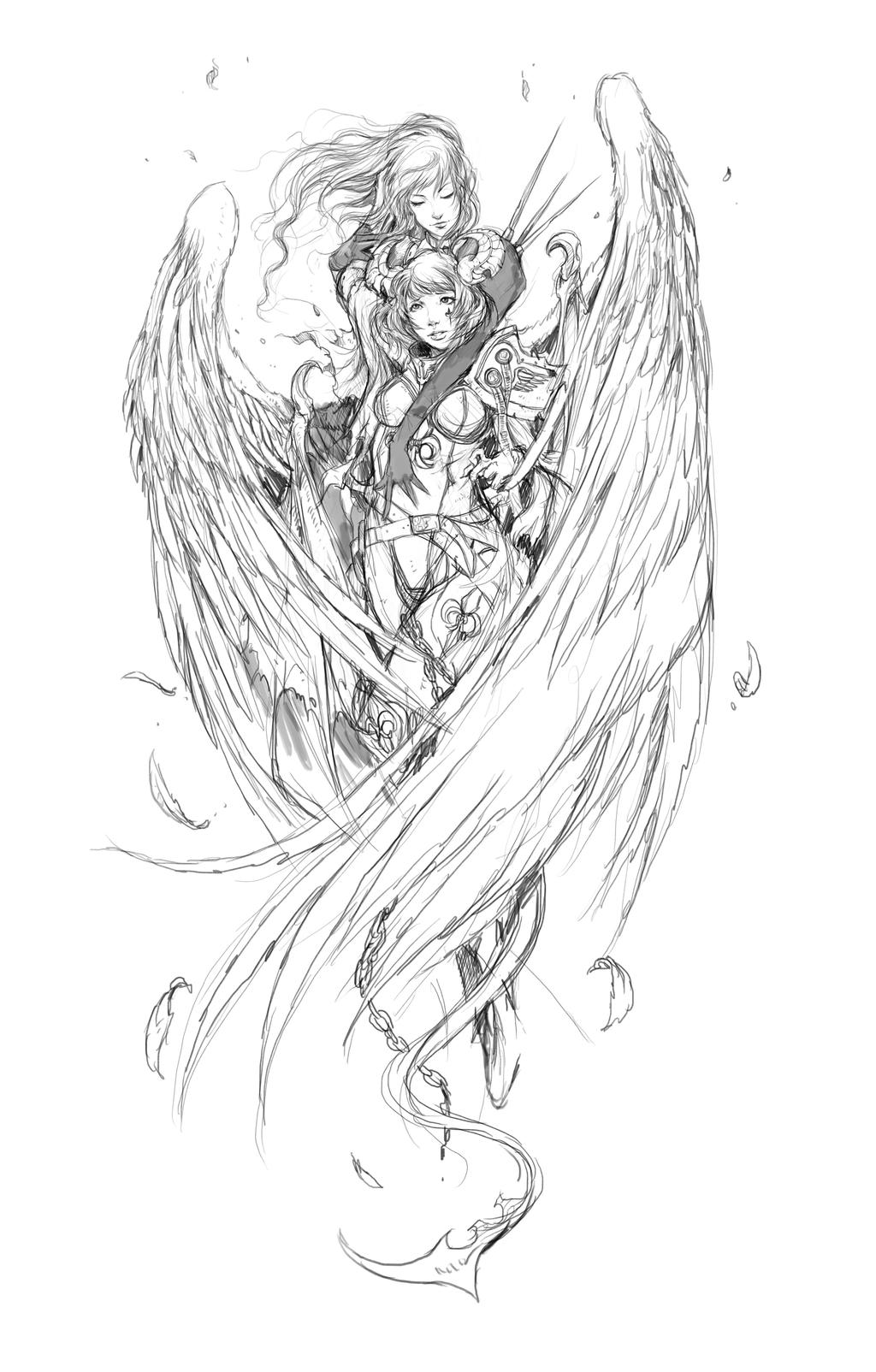 Yin Yang Wolfs Tattoo 328628885 moreover Fairy Tattoo Outlines furthermore Warrior Angel 294916199 additionally Beautiful Angel Coloring Pages For Adults Sketch Templates in addition Mannequin Outline. on anime angels and demons