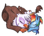 Rainbow Family Sleeping Pile by Gummysky