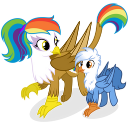 Rainbow Feather and Gren by Shizow