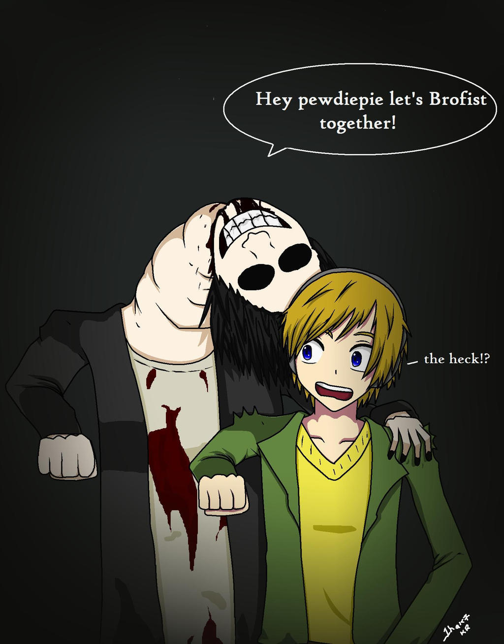 The Crooked Man And Pewdiepie Brofist by 1haku7The Crooked Man Wallpaper