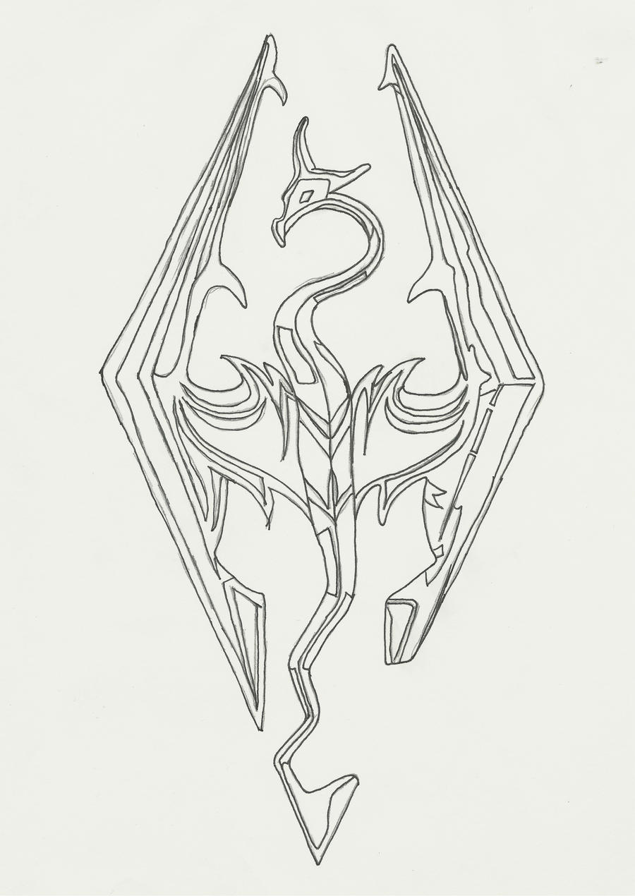 D Line Drawings Logo : Skyrim symbol fail by irken maz on deviantart