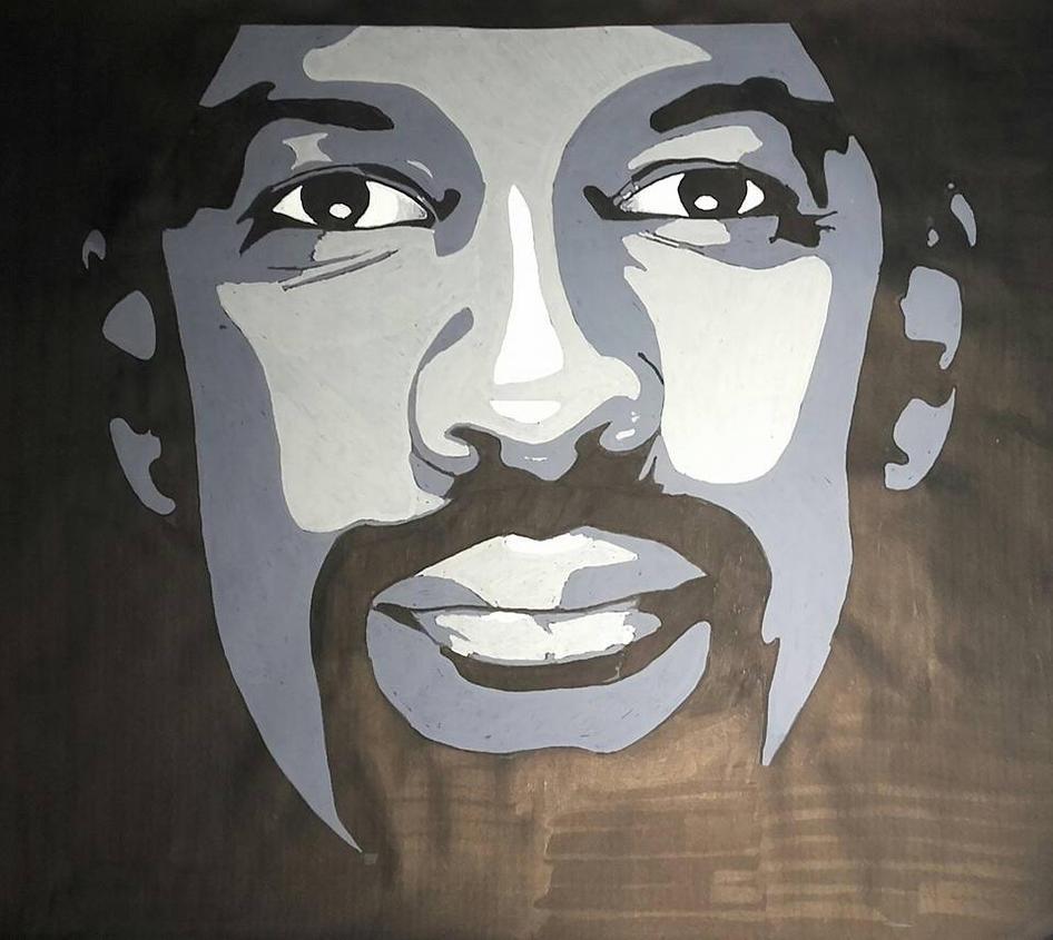 Denzel Washington on black kraft paper with POSCA by Chakkrah