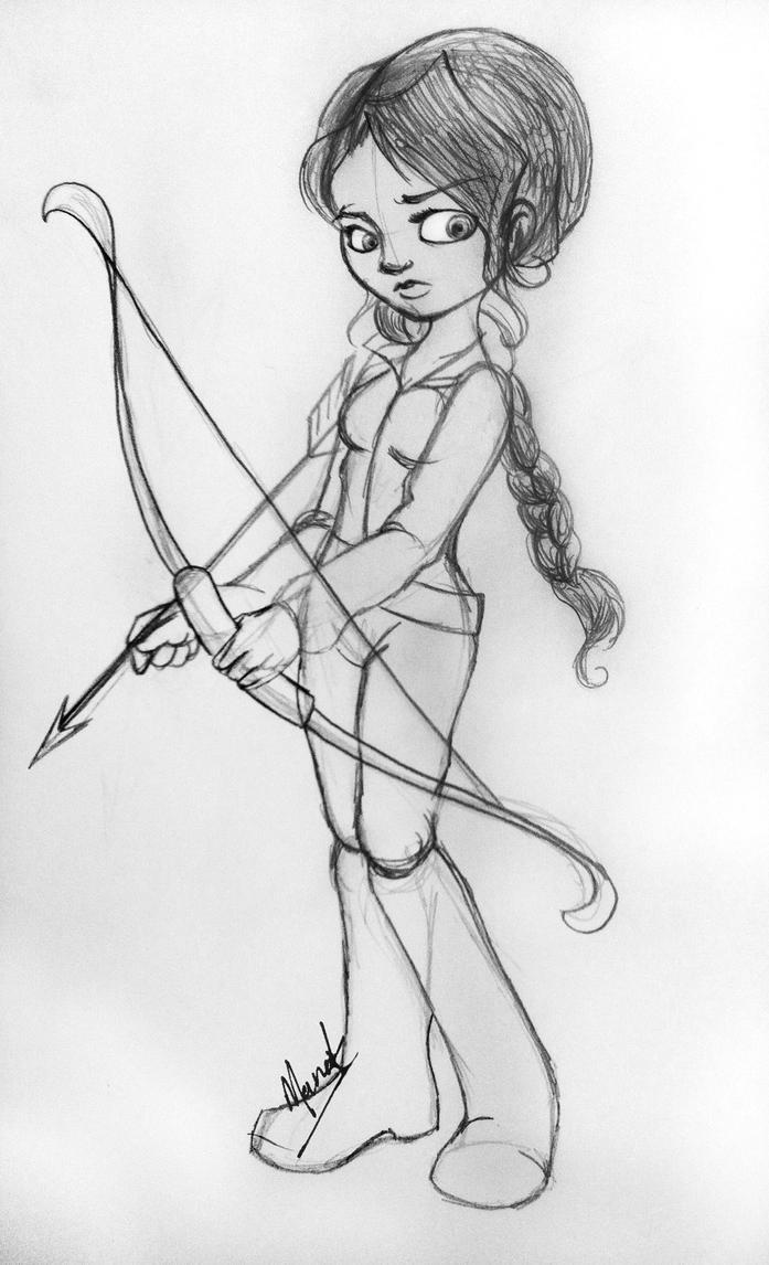 how to draw katniss everdeen shooting an arrow