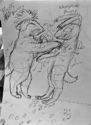 Fluffy vs Vanpire. Creature fight night. by Redfiredark