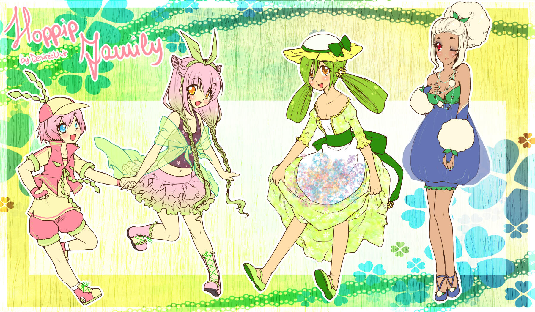 PokeGijinka Adopts-Hoppip Family Batch! (CLOSED) by Desiree-U