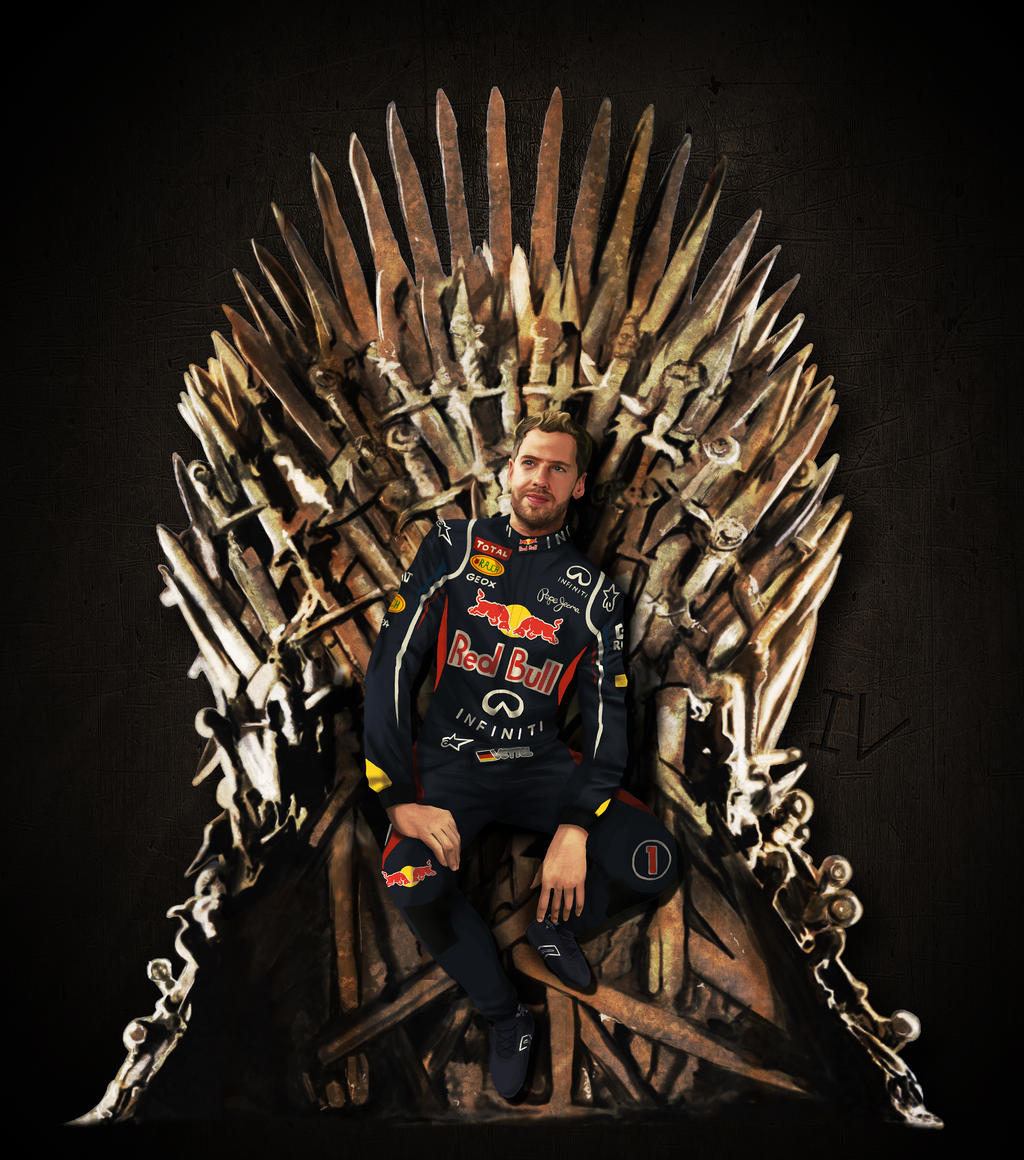 Vettel sits the iron throne by tetura on deviantart for Iron throne painting