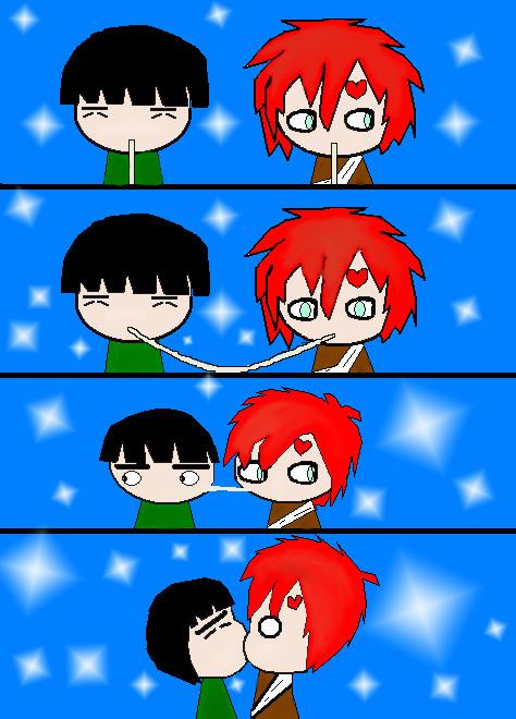 Rock Lee Gaara kiss by Riku-chan24 on DeviantArt Gaara And Rock Lee Yaoi