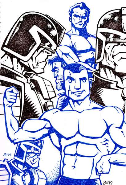 Sketchy - Muscles and Dredd by SEVANS73