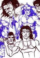 Sketches - Rambo and Conan by SEVANS73