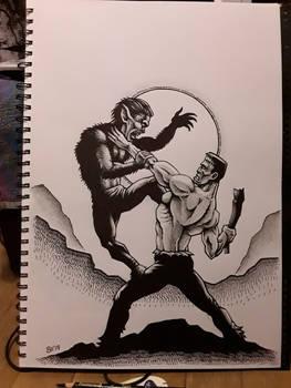 Frankenstein monster vs the wolfman
