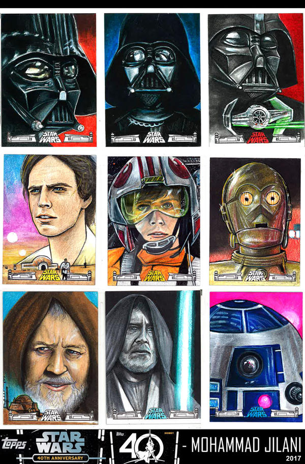 STARWARS 40th Anniversary sketch cards by Art-by-Jilani