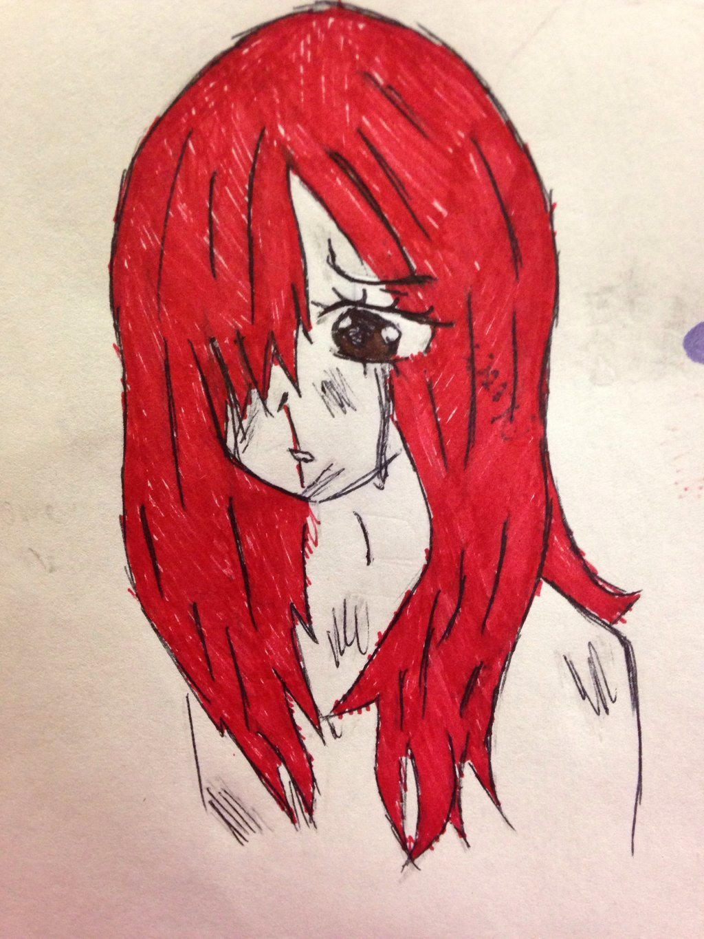 School doodle (Erza Scarlet) by Clemontiscute123