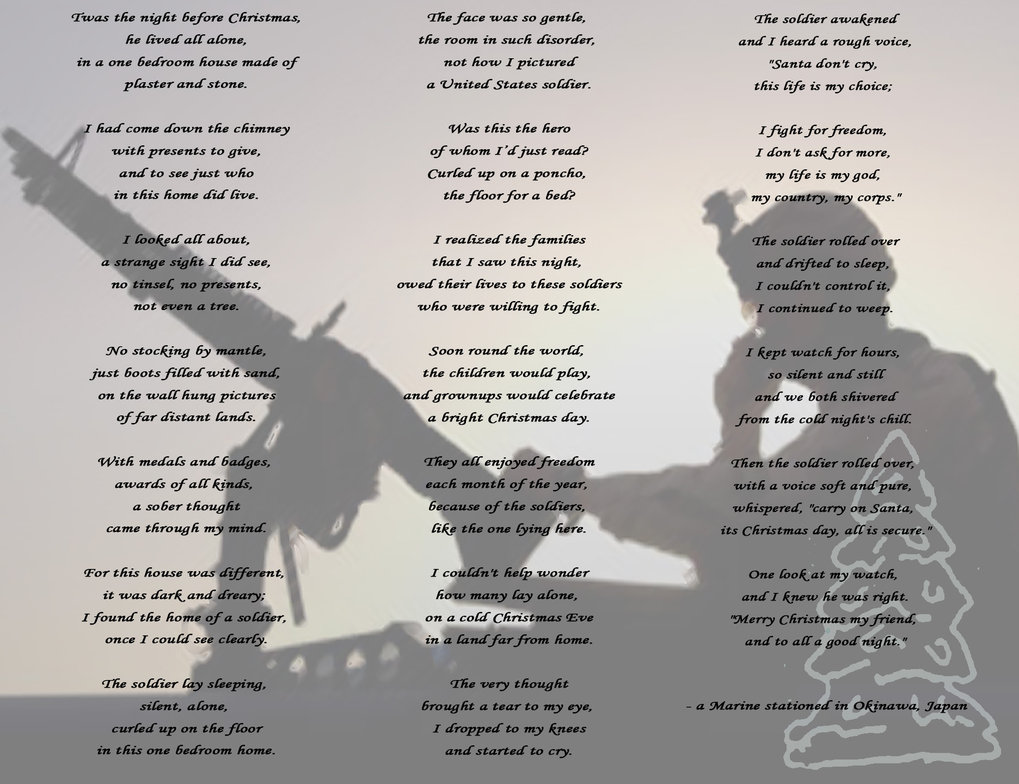Soldiers Christmas Poem by runswitharmour on DeviantArt