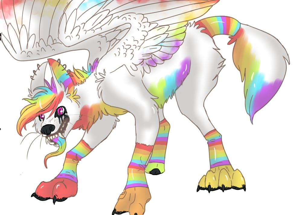 big ugly rainbow dog by Doodle-Dreams