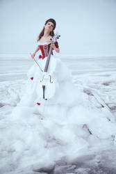 Beautiful brunette in a dress with cello