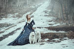 The woman in blue coat walk with a dog