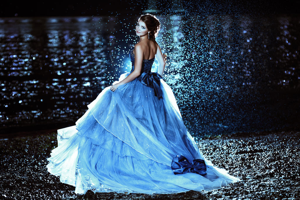 Book Cover Photography Near Me : Beautiful lady in blue dress walking near sea by black