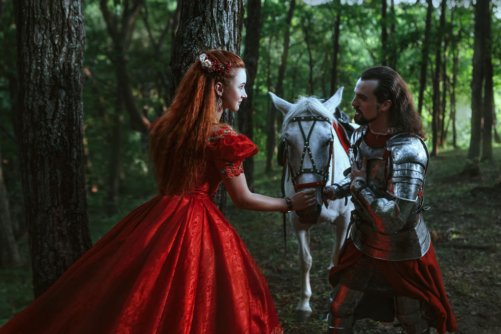 Medieval knight with his beloved lady in red dress by Black-Bl00d on DeviantArt