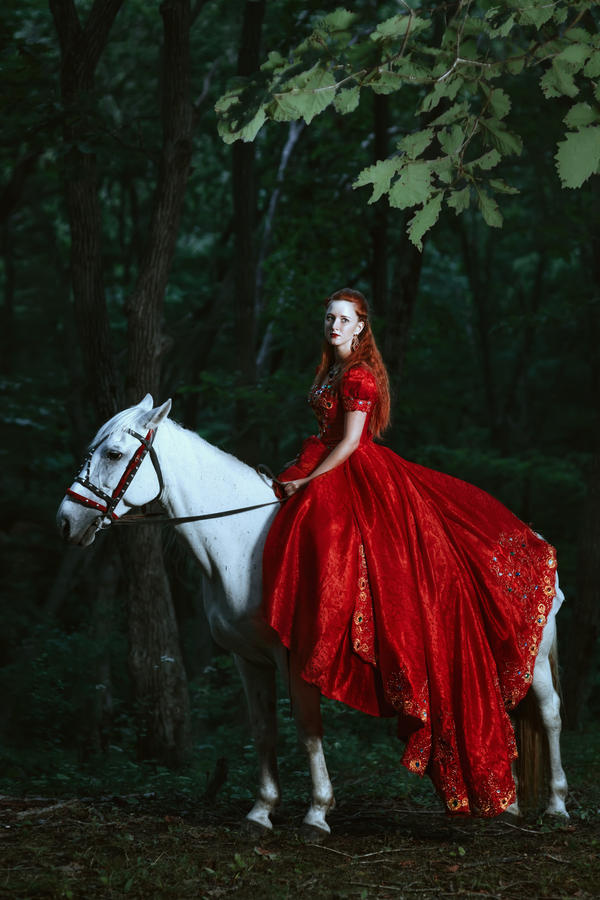 Long Red Dress Black Shoes