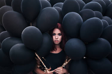Beautiful girl walking with black balloons by Black-Bl00d