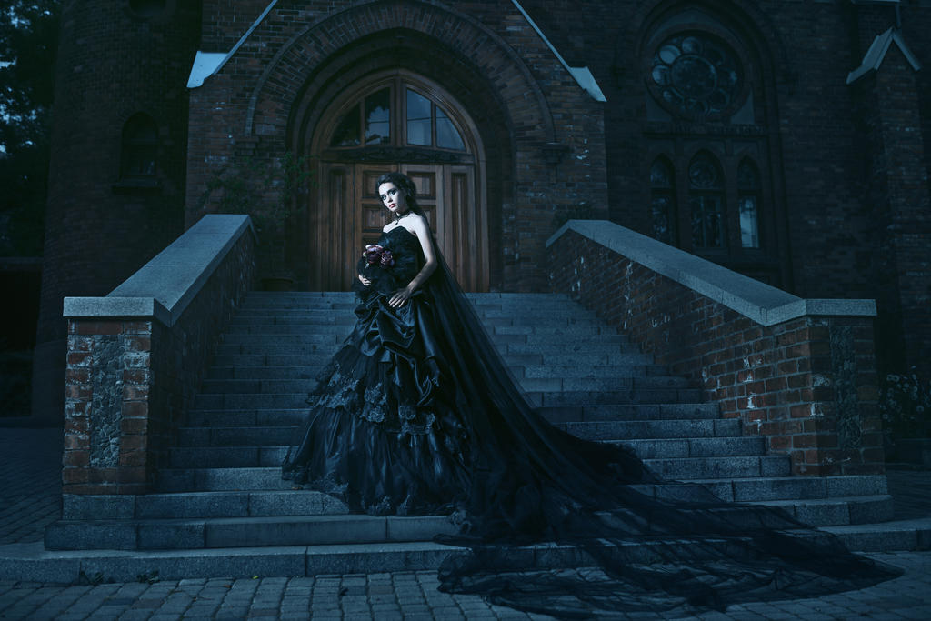 Book Cover Photography Near Me : Mysterious woman in black dress near chirch by bl d