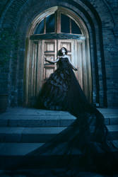 Mysterious woman in black dress near chirch by Black-Bl00d