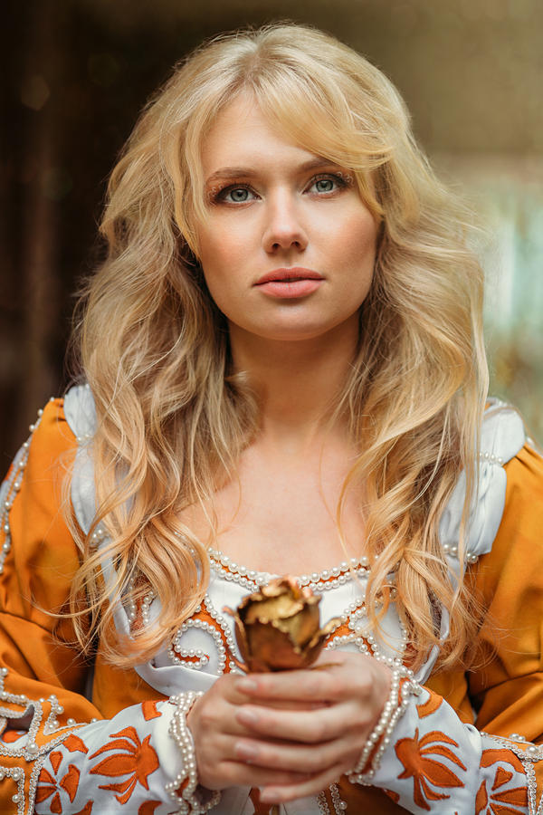 Beautiful lady with blond hairs in medieval dress by Black ...