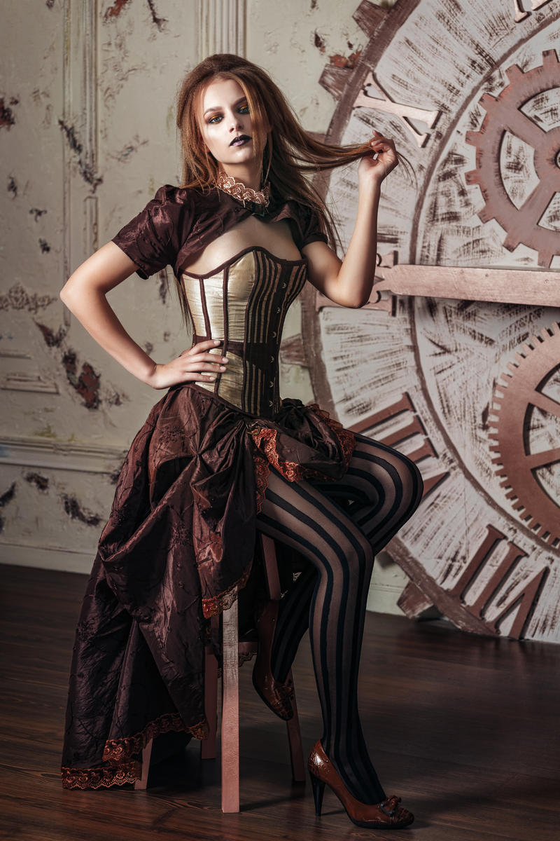 Victorian Costume Steampunk by Black-Bl0...