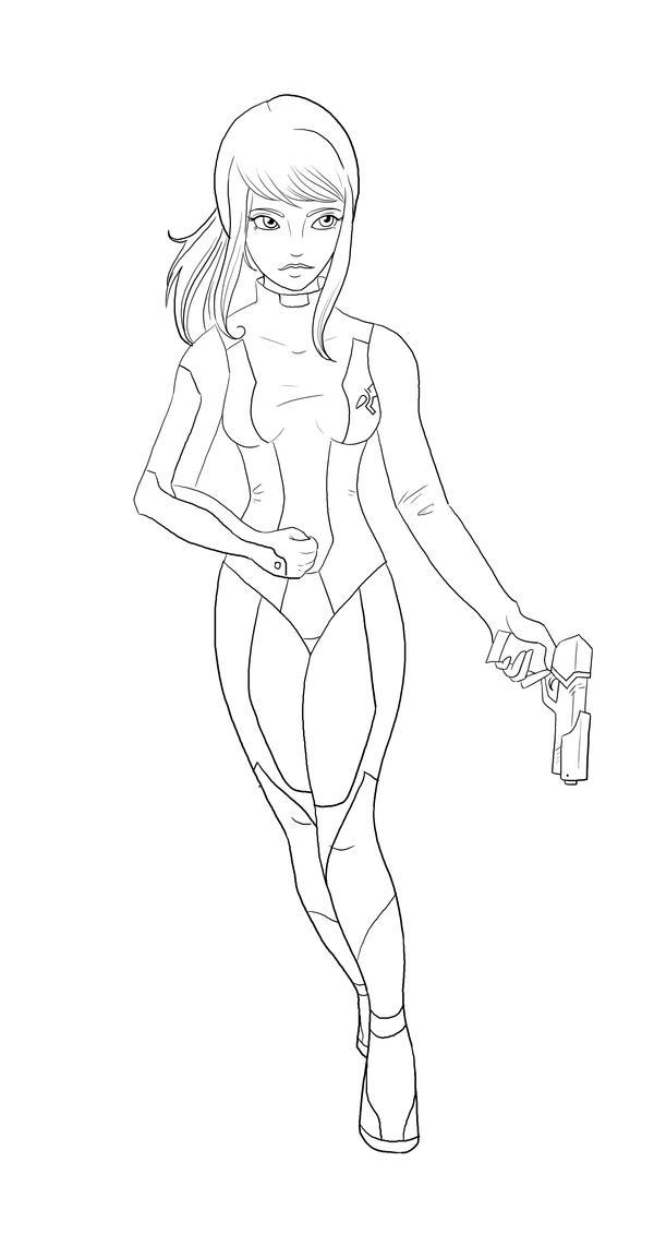 metroid coloring pages - zero suit samus line art by sugargrl14 on deviantart