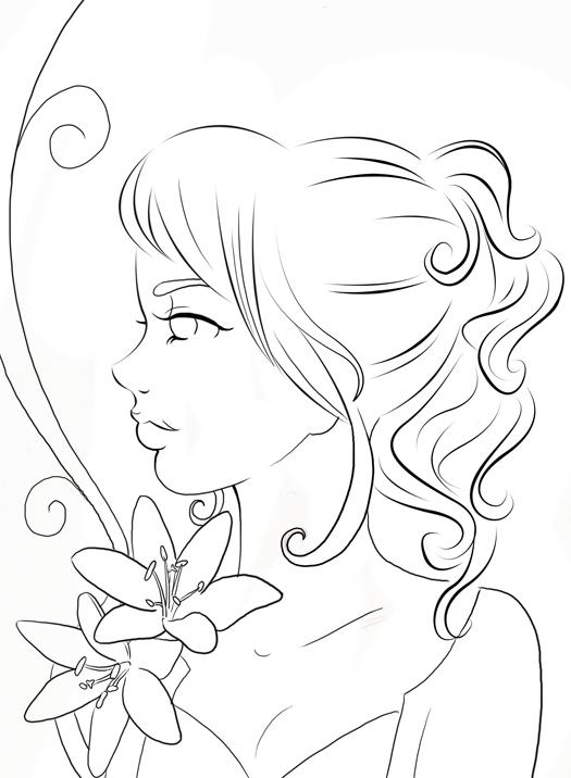 Line Art Person : Art assignment by katykat on deviantart
