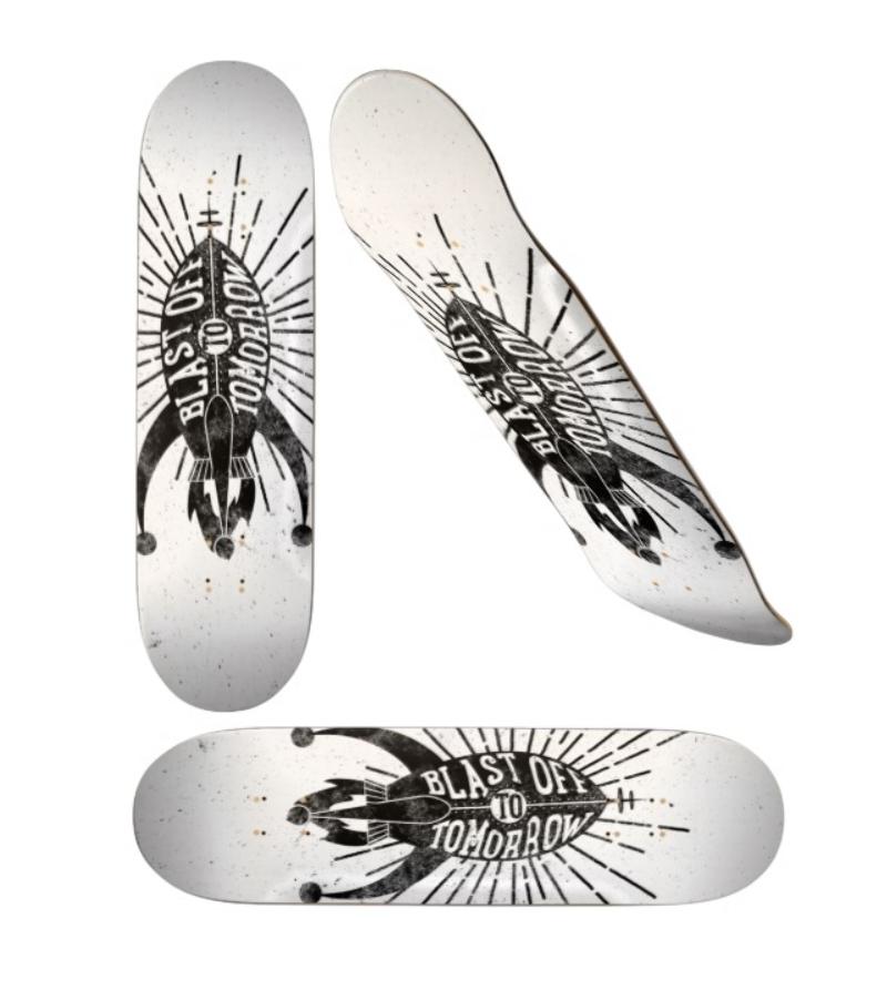Blast Off to Tomorrow skateboard by cogwurx
